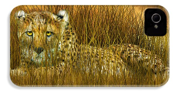 Cheetah - In The Wild Grass IPhone 4 Case by Carol Cavalaris