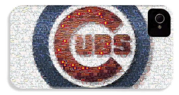 Chicago Cubs Mosaic IPhone 4 Case by David Bearden