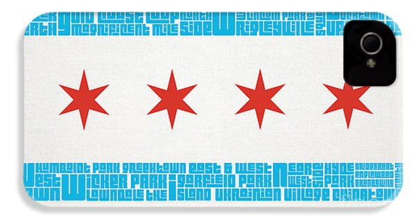 Chicago Flag Neighborhoods IPhone 4 Case by Mike Maher