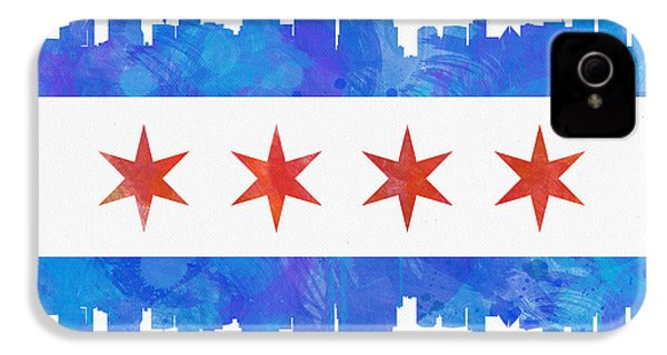 Chicago Flag Watercolor IPhone 4 Case by Mike Maher