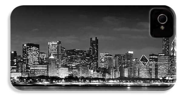 Chicago Skyline At Night Black And White IPhone 4 Case by Jon Holiday