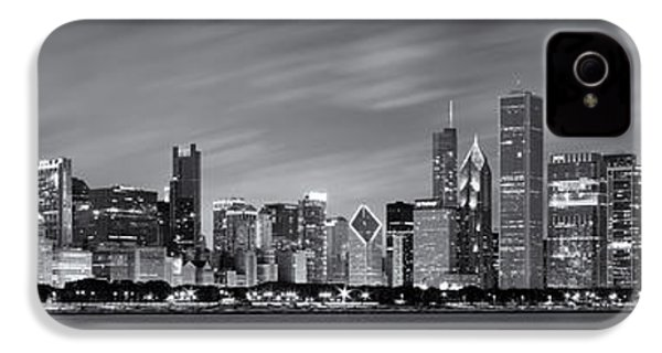 Chicago Skyline At Night Black And White Panoramic IPhone 4 / 4s Case by Adam Romanowicz