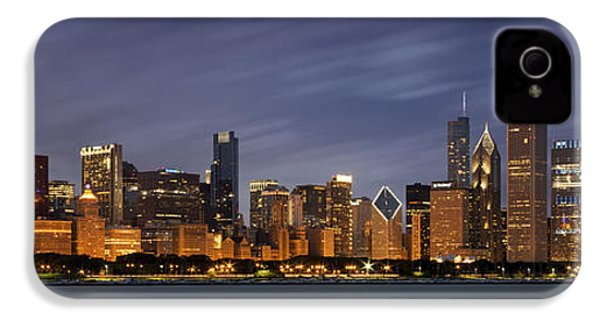Chicago Skyline At Night Color Panoramic IPhone 4 Case by Adam Romanowicz