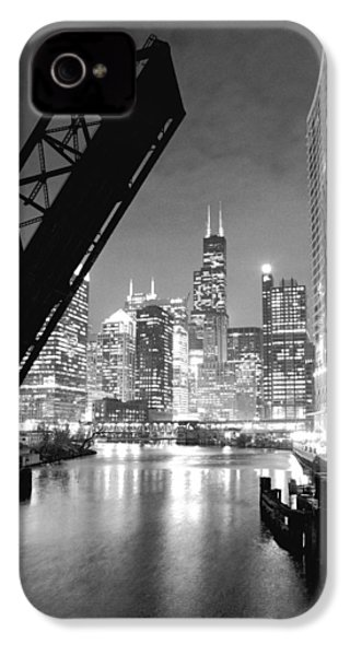 Chicago Skyline - Black And White Sears Tower IPhone 4 Case by Horsch Gallery