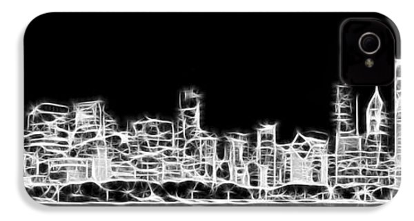 Chicago Skyline Fractal Black And White IPhone 4 / 4s Case by Adam Romanowicz