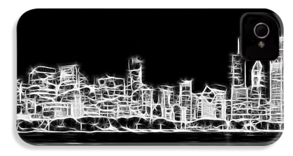 Chicago Skyline Fractal Black And White IPhone 4 Case