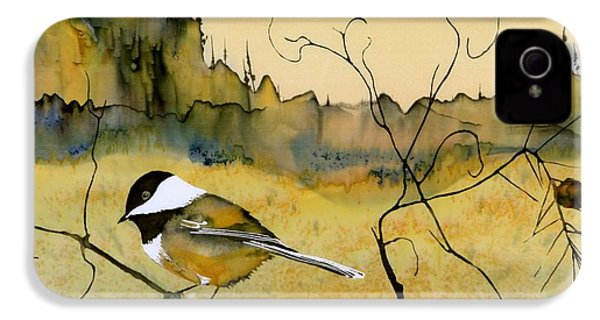 Chickadee In Dancing Pine IPhone 4 / 4s Case by Carolyn Doe