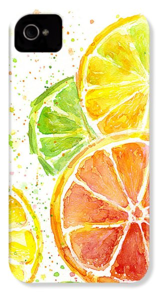 Citrus Fruit Watercolor IPhone 4 / 4s Case by Olga Shvartsur