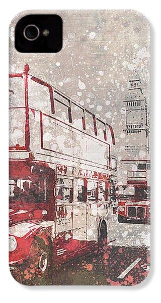 City-art London Red Buses II IPhone 4 Case by Melanie Viola