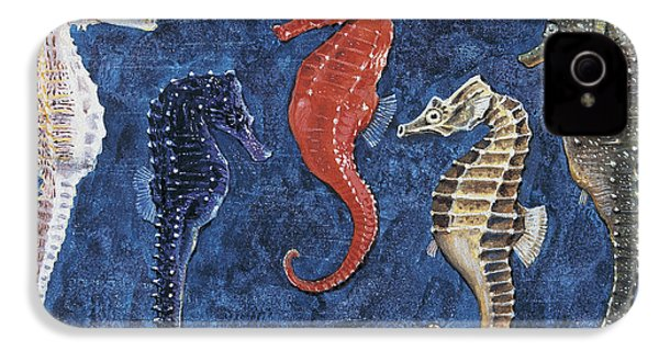 Close-up Of Five Seahorses Side By Side  IPhone 4 Case by English School