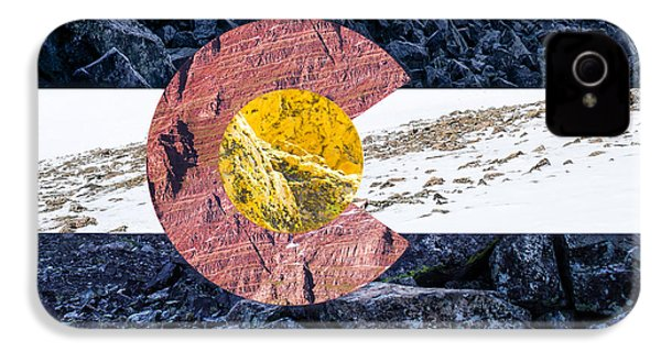 Colorado State Flag With Mountain Textures IPhone 4 Case by Aaron Spong