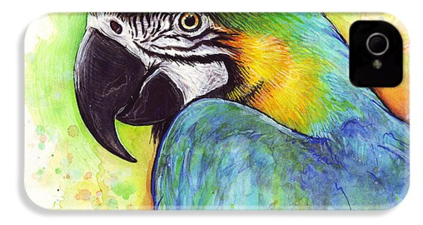 Macaw Watercolor IPhone 4 Case by Olga Shvartsur