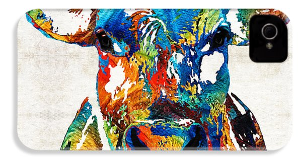 Colorful Cow Art - Mootown - By Sharon Cummings IPhone 4 / 4s Case by Sharon Cummings