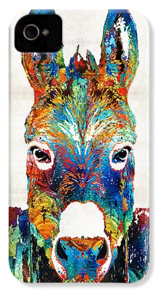 Colorful Donkey Art - Mr. Personality - By Sharon Cummings IPhone 4 Case by Sharon Cummings