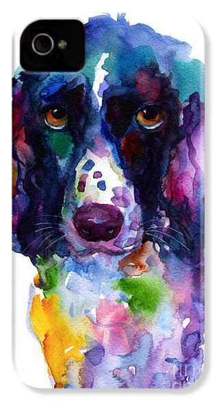 Colorful English Springer Setter Spaniel Dog Portrait Art IPhone 4 Case