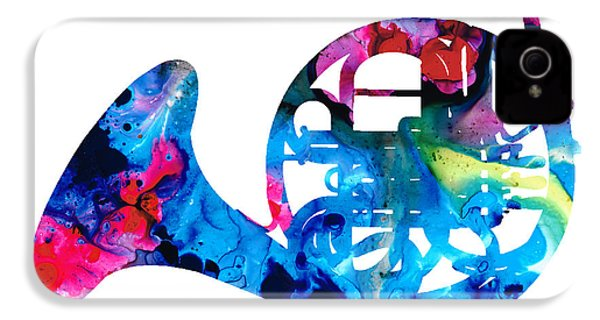 Colorful French Horn 2 - Cool Colors Abstract Art Sharon Cummings IPhone 4 Case by Sharon Cummings
