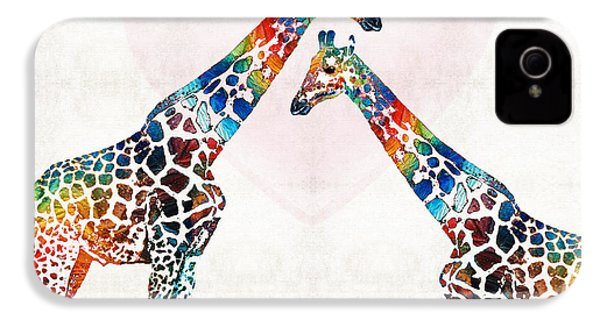 Colorful Giraffe Art - I've Got Your Back - By Sharon Cummings IPhone 4 Case by Sharon Cummings