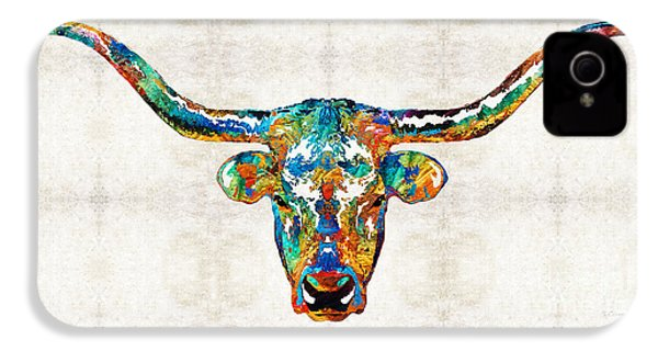 Colorful Longhorn Art By Sharon Cummings IPhone 4 / 4s Case by Sharon Cummings
