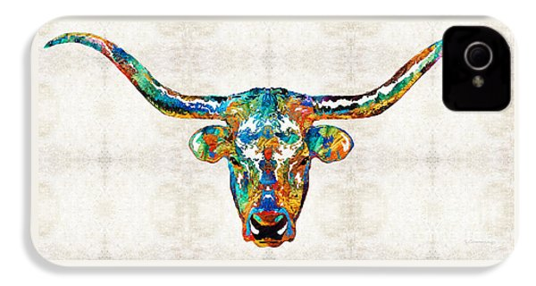 Colorful Longhorn Art By Sharon Cummings IPhone 4 Case by Sharon Cummings