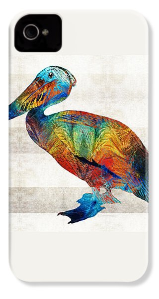 Colorful Pelican Art By Sharon Cummings IPhone 4 / 4s Case by Sharon Cummings