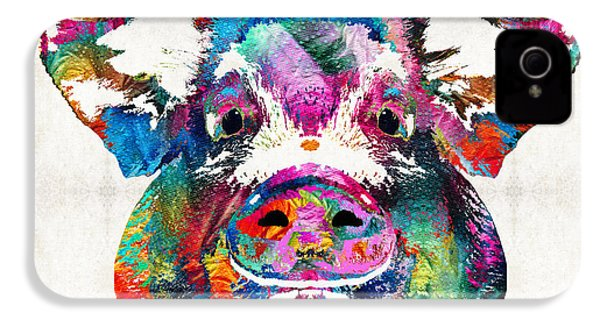 Colorful Pig Art - Squeal Appeal - By Sharon Cummings IPhone 4 Case by Sharon Cummings