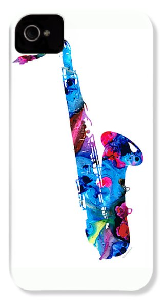 Colorful Saxophone 2 By Sharon Cummings IPhone 4 Case by Sharon Cummings