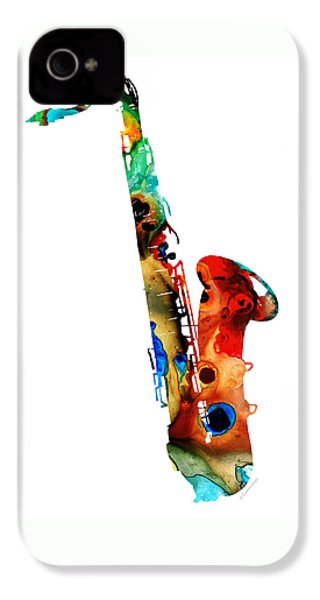 Colorful Saxophone By Sharon Cummings IPhone 4 Case by Sharon Cummings