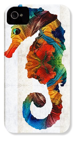 Colorful Seahorse Art By Sharon Cummings IPhone 4 / 4s Case by Sharon Cummings