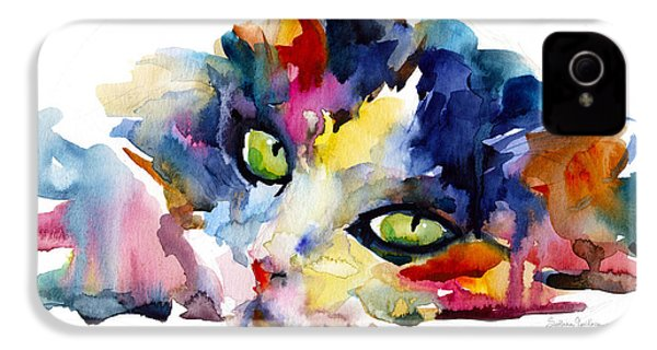 Colorful Tubby Cat Painting IPhone 4 Case
