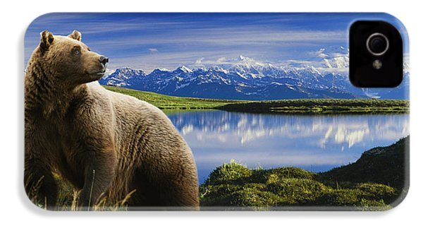 Composite Grizzly Stands In Front Of IPhone 4 Case by Michael Jones