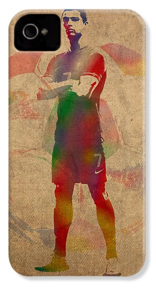 Cristiano Ronaldo Soccer Football Player Portugal Real Madrid Watercolor Painting On Worn Canvas IPhone 4 Case by Design Turnpike