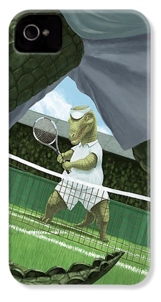 Crocodiles Playing Tennis At Wimbledon  IPhone 4 Case by Martin Davey
