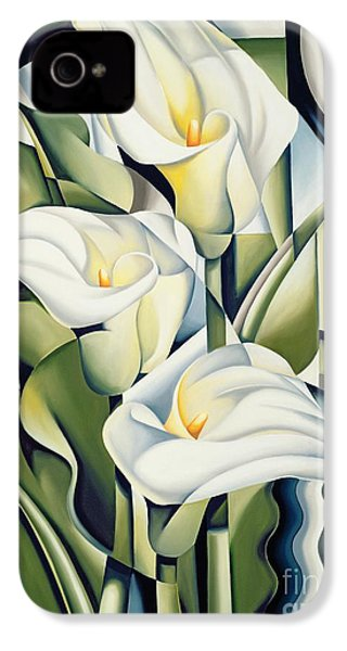 Cubist Lilies IPhone 4 Case by Catherine Abel