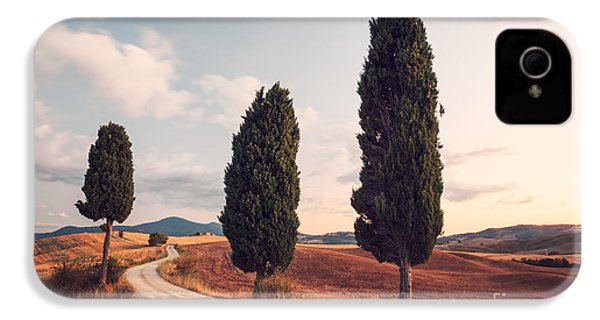 Cypress Lined Road In Tuscany IPhone 4 Case by Matteo Colombo