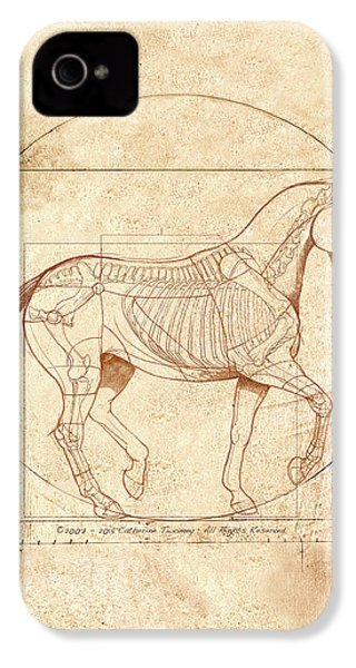 da Vinci Horse in Piaffe IPhone 4 / 4s Case by Catherine Twomey