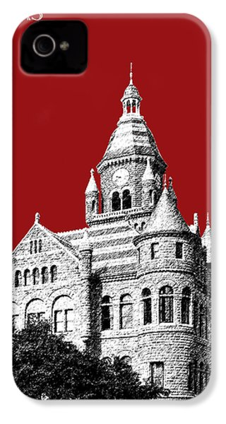 Dallas Skyline Old Red Courthouse - Dark Red IPhone 4 Case by DB Artist