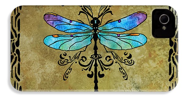 Damselfly Nouveau IPhone 4 Case by Jenny Armitage