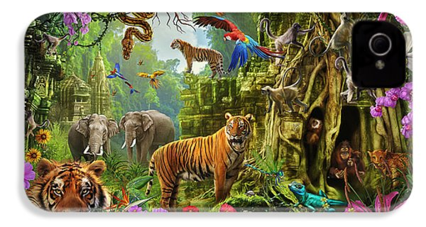 IPhone 4 Case featuring the drawing Dark Jungle Temple And Tigers by Ciro Marchetti