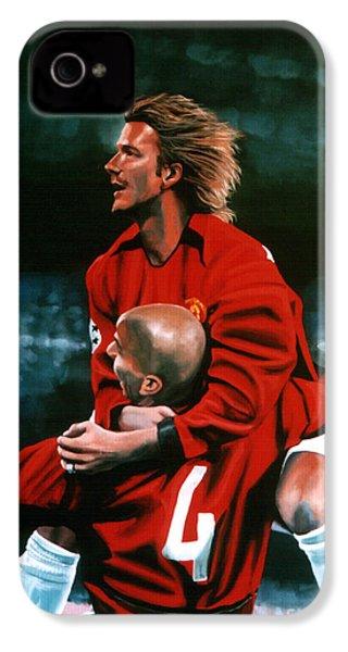 David Beckham And Juan Sebastian Veron IPhone 4 Case by Paul Meijering