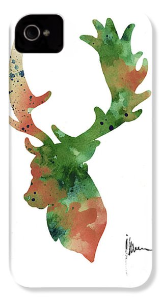 Deer Antlers Silhouette Watercolor Art Print Painting IPhone 4 Case by Joanna Szmerdt