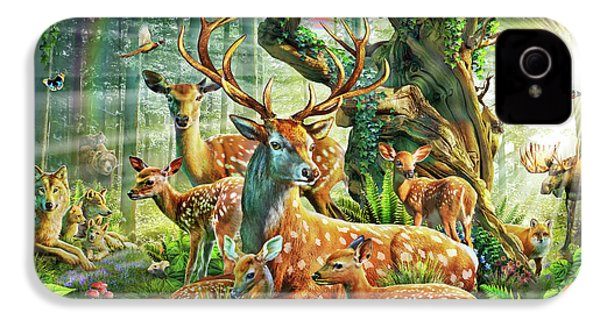 IPhone 4 Case featuring the drawing Deer Family In The Forest by Adrian Chesterman