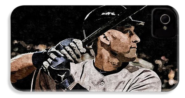 Derek Jeter On Canvas IPhone 4 / 4s Case by Florian Rodarte
