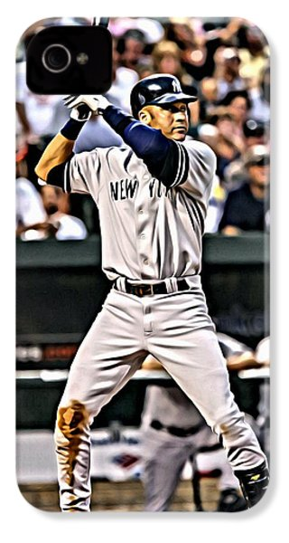 Derek Jeter Painting IPhone 4 / 4s Case by Florian Rodarte