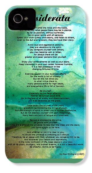 Desiderata 2 - Words Of Wisdom IPhone 4 Case by Sharon Cummings