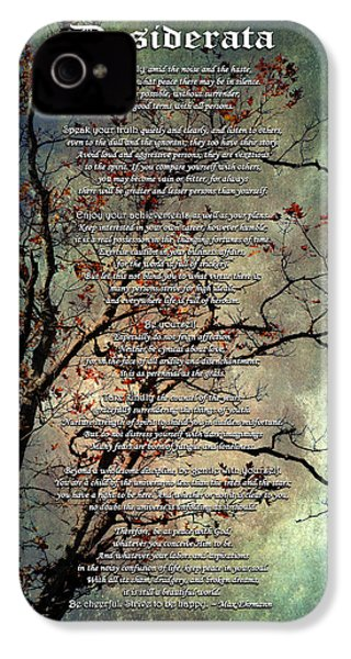 Desiderata Inspiration Over Old Textured Tree IPhone 4 Case by Christina Rollo