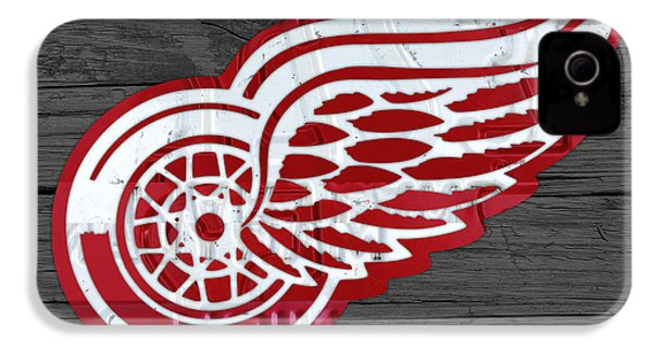 Detroit Red Wings Recycled Vintage Michigan License Plate Fan Art On Distressed Wood IPhone 4 Case by Design Turnpike