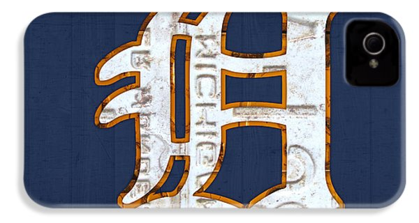 Detroit Tigers Baseball Old English D Logo License Plate Art IPhone 4 Case