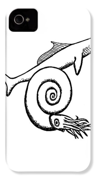 Devonian Shark And Ammonoid IPhone 4 Case by Richard Bizley