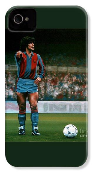 Diego Maradona IPhone 4 Case by Paul Meijering
