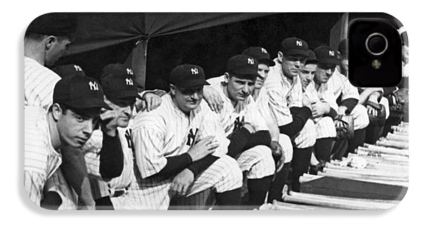 Dimaggio In Yankee Dugout IPhone 4 Case by Underwood Archives